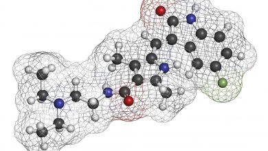 Sunitinib cancer drug molecule. Atoms are represented as spheres with conventional color coding: hydrogen (white), carbon (grey), oxygen (red), nitrogen (blue), fluorine (light green).