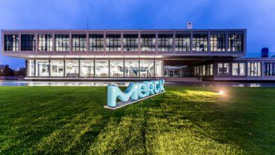 Das modulare Innovationszentrum mit dem neuen Merck-Logo. Foto: Merck KGaA