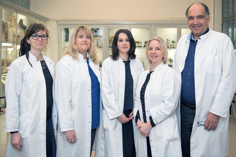 Die Arbeitsgruppe um PD Dr. Ivonne Bazwinsky-Wutschke (2.v.l.) und Prof. Dr. Faramarz Dehghani (r.), Foto: Universitätsklinikum Halle (Saale)